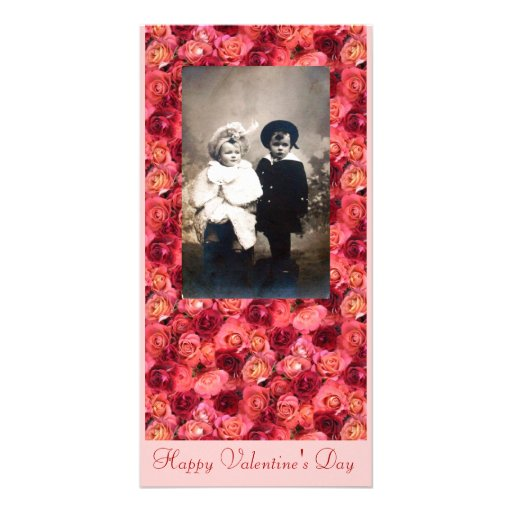 ROSE FIELD ,bright vibrant  red  pink Personalized Photo Card