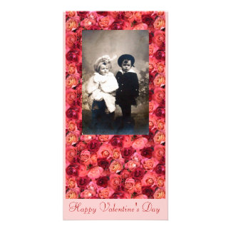 ROSE FIELD ,bright vibrant  red  pink Photo Greeting Card