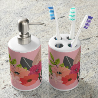 Rose Floral Bathroom Accessories Soap Dispenser And Toothbrush Holder