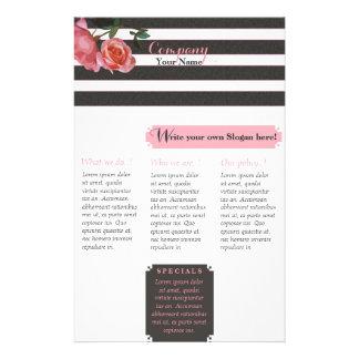 Rose Floral Black & White Stripes - Flyer