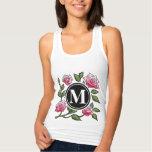 Rose Floral Illustration and Monogram Tee Shirt