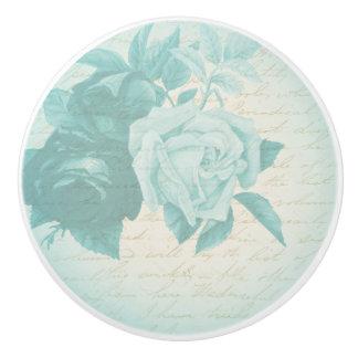 Rose floral vintage ceramic knob in blue