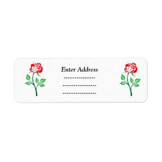 Rose flower  address label Sticker