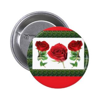 ROSE FLOWER 6 CM ROUND BADGE