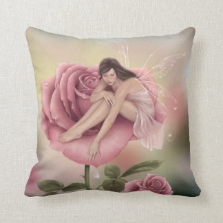 Rose Flower Fairy Art Pillow Pink & Green