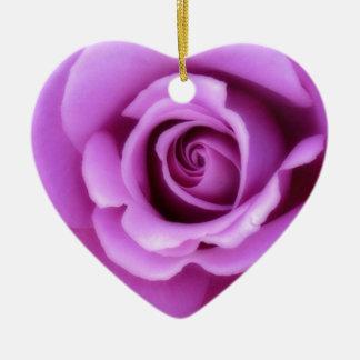 Rose Flower Lavender Purple Pink pretty floral Ceramic Heart Decoration