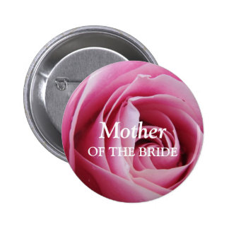 Rose flower petal pink wedding name tag badge pin