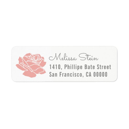 rose flower return address label with name