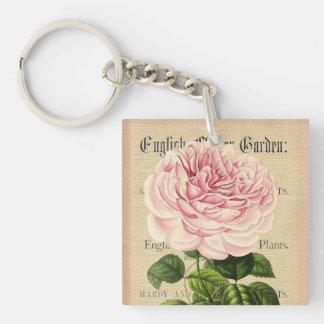 Rose flower vintage feminine floral keychain