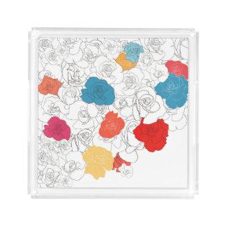 Rose flowers acrylic tray