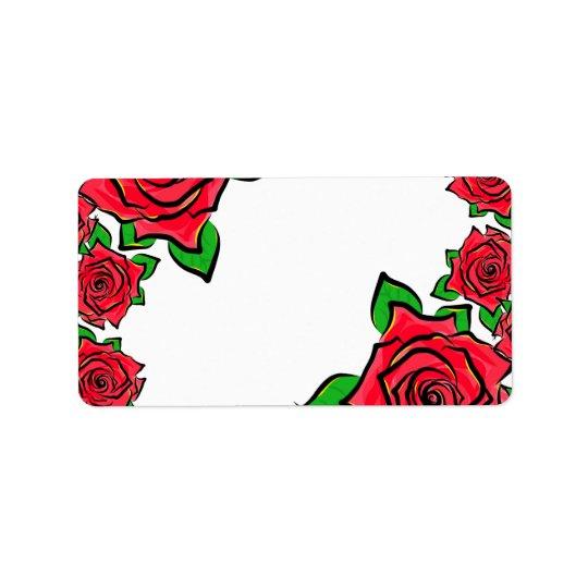 Rose Flowers Painting Border Red Roses Petals Art Address Label