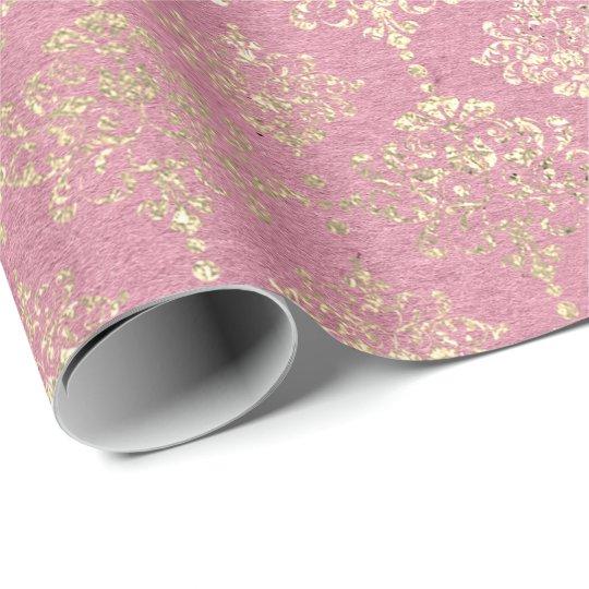 Rose Foxier Metallic Damask Gold Princess Pink Wrapping
