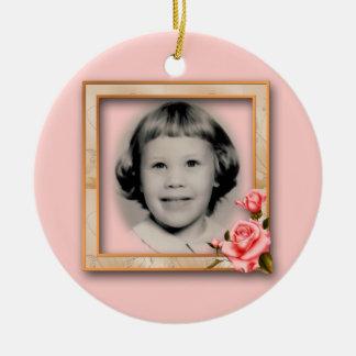 Rose Frame Memorial Ornament Customizable