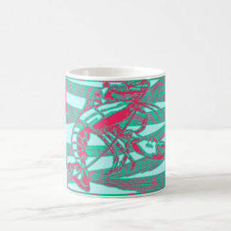 Rose Fuscia Pink Aqua Lobster Crustacean Coffee Mug
