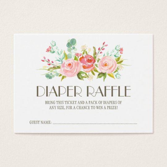 Rose Garden Baby Diaper Raffle Ticket