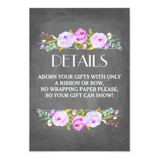 rose garden bridal shower gift wrap insert card