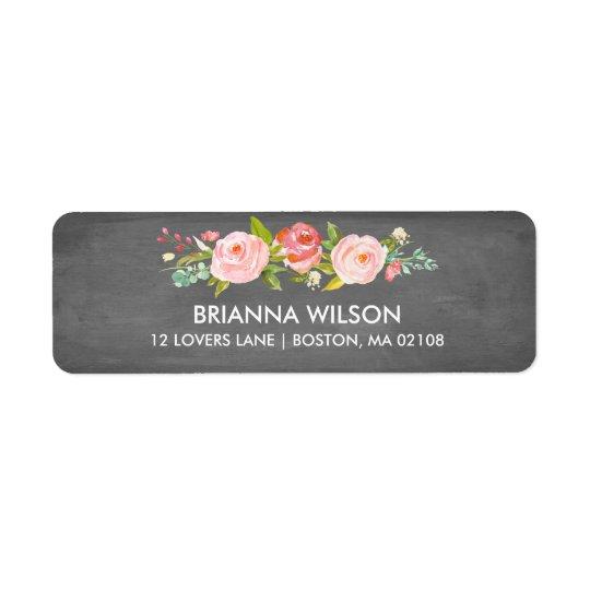 Rose Garden Floral Chalkboard Return Address Label