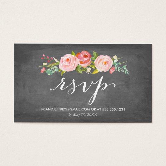Rose Garden Floral Chalkboard Wedding Email RSVP Business