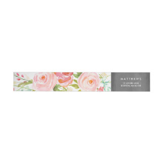 Rose Garden Floral Chalkboard Wrap Around Label