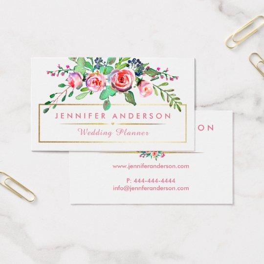 Rose Garden Floral Wedding Planner Business Cards