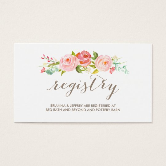 Rose Garden Floral Wedding Registry Card