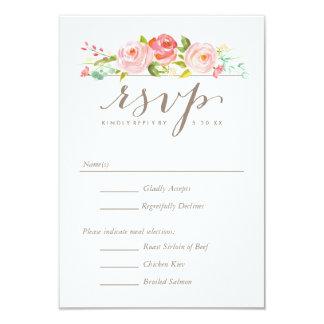 Rose Garden Floral Wedding RSVP with Menu Options Card