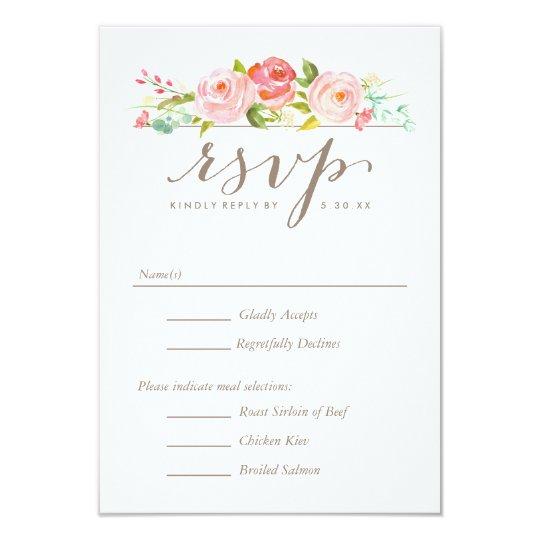 Rose Garden Floral Wedding RSVP with Menu Options