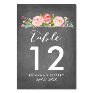 Rose Garden Floral Wedding Table Number Card Table Card