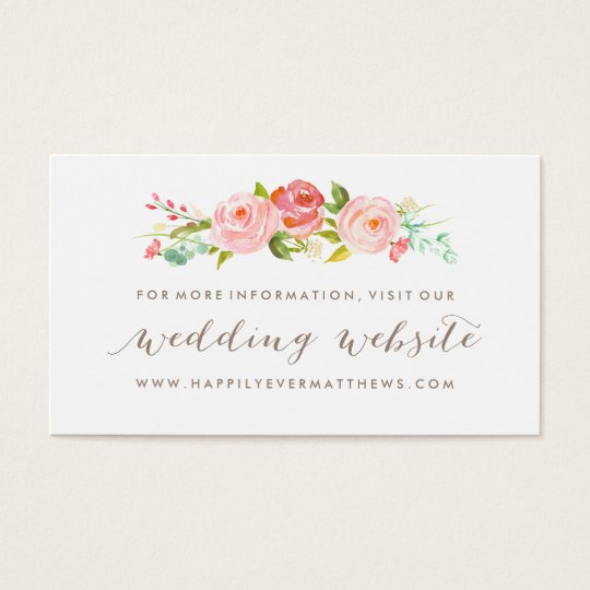 Rose Garden Floral Wedding Website Double-Sided Business Card