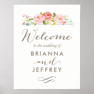 Rose Garden Floral Wedding Welcome Sign