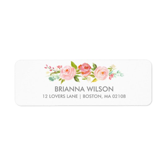 rose garden floral white return address label. Black Bedroom Furniture Sets. Home Design Ideas