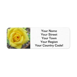 Rose Garden Flower Mini Yellow Return Address Label