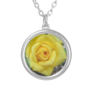 Rose Garden Flower Mini Yellow Silver Plated Necklace