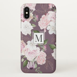 Rose Garden Mauve | Monogram Phone Case