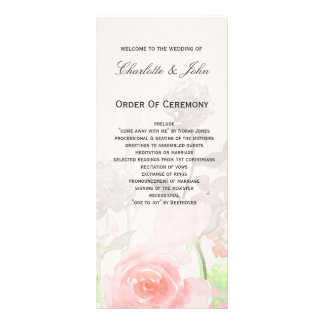 Rose Garden Modern Floral wedding programs Full Colour Rack Card