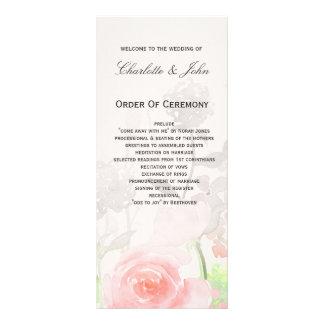 Rose Garden Modern Floral wedding programs Rack Card