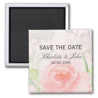 Rose Garden Modern Floral wedding save the Date Square Magnet
