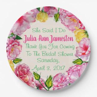 "Rose Garden Party Bridal Shower Plates 9"""