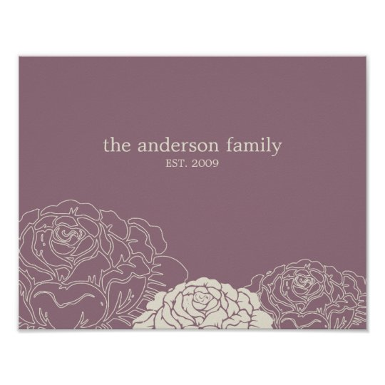 Rose Garden Personalised Wall Art - Violet -
