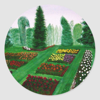 Rose Garden Portland Oregon watercolor painting Round Stickers