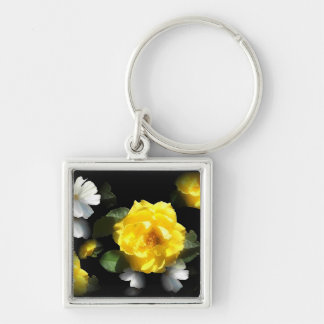 ROSE GARDEN Silver-Colored SQUARE KEY RING