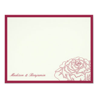 Rose Garden Thank You Card - Rich Red 11 Cm X 14 Cm Invitation Card