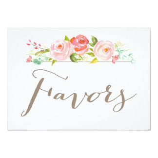 Rose Garden Wedding Favors Sign Card