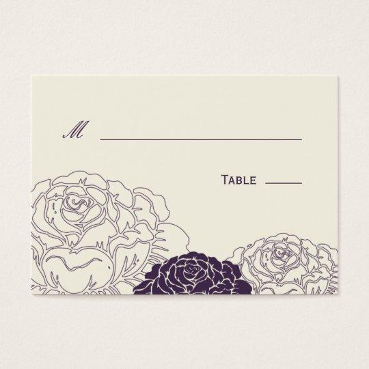 Rose Garden Wedding Place Card - Purple