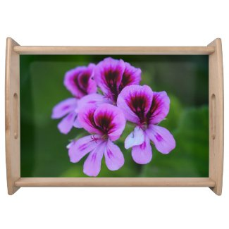 Rose Geranium Floral Serving Tray