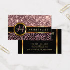 Rose Glitter and Leopard Skin - Hairstylist Business Card