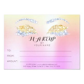 Rose Glitter Ombre Makeup Beauty Certificate Gift Card