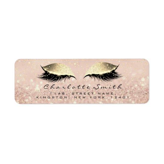 Rose Glitter RSVP Return Address Eye Lashes Makeup