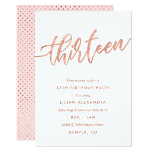 Rose Gold 13th Birthday Invitation