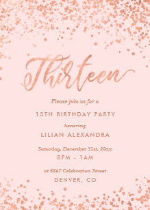 Rose Gold 13th Birthday Party Invitation Faux Foil